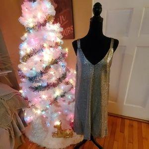 NWT NEW silver lame sleeveless dress Size Large